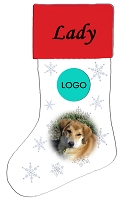 White Holiday Stocking with Red Top - Custom
