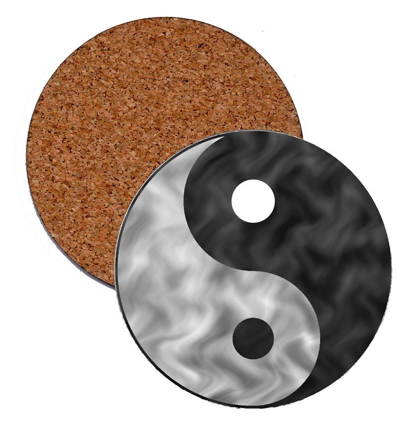 Coasters yin yang chinese art printed in usa black for Decoration murale yin yang
