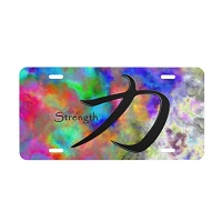 Chinese Calligraphy License Plate - Strength - Abstract Color