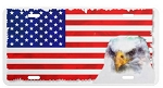License Plate - USA Flag with Eagle Painting