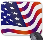 Wavy USA Flag Mouse Pad