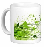 Mug - Green Flowers and Butterfly