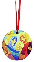 Round Holiday Metal Ornament - Nativity 4