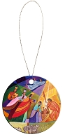 Round Holiday Ceramic Ornament - Nativity 5
