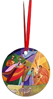 Round Holiday Metal Ornament - Nativity 5