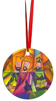 Round Holiday Metal Ornament - Wise Men 2