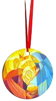 Round Holiday Metal Ornament - Nativity 2