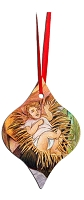 Metal Tapered Holiday Ornament - Baby Jesus 6