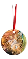 Round Holiday Metal Ornament - Baby Jesus 6