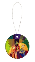 Round Holiday Ceramic Ornament - Wise Men 7