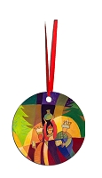 Round Holiday Metal Ornament - Wise Men 7