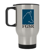 14 oz. Silver Stainless Travel Mug - Furlife German Shepherd Rescue
