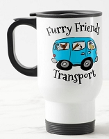 14 oz. White Stainless Travel Mug - Furry Friends Transport