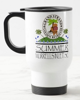 14 oz. White Stainless Travel Mug - Grand STrand Golden Retriever Rescue Summer