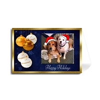 Custom Merry Christmas Greeting Card - White and Gold Balls (Florentine Cursive Font)
