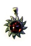 Amber Sun Pendant Sterling Silver 1 1/4