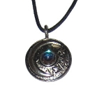 Pewter Pendant - Crescent Moon Disc w/Crystal