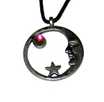 Pewter Pendant - Crescent Moon Ring w/Crystal