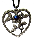 Pewter Pendant - Large Heart w/Crystal