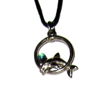 Pewter Pendant - Dolphin Ring w/Crystal
