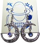 Pewter Earrings - Crescent Moon w/Crystal