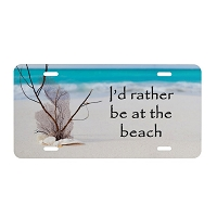 Artisan Decor License Plate - I'd Rather be at the Beach #1