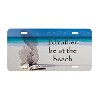 Artisan Decor License Plate - I'd Rather be at the Beach #2