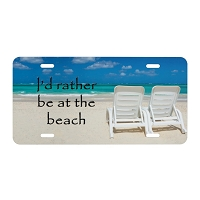 Artisan Decor License Plate - I'd Rather be at the Beach (Chairs)
