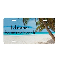 Artisan Decor License Plate - I'd Rather be at the Beach (Palm Trees)