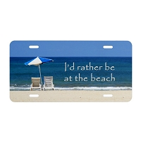 Artisan Decor License Plate - I'd Rather be at the Beach (Chairs Umbrella)