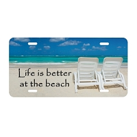 Artisan Decor License Plate - Life is better at the Beach (Chairs)