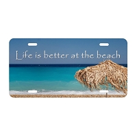 Artisan Decor License Plate - Life is better at the Beach (Umbrella)