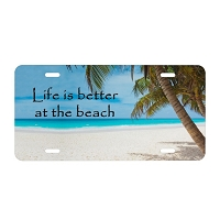 Artisan Decor License Plate - Life is better at the Beach (Palm Trees)