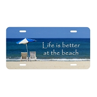 Artisan Decor License Plate - Life is better at the Beach (Chairs Umbrella)