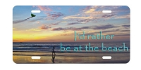 Artisan Decor License Plate - I'd Rather be at the Beach (Kite)
