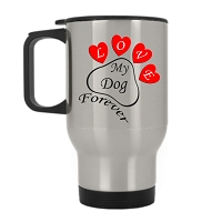 14 oz. Silver Stainless Travel Mug - Heart Paw Love my Dog Forever