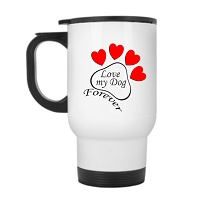14 oz. White Stainless Travel Mug - Paw Heart Love my Dog Forever