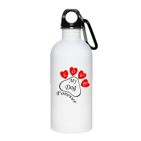 20 oz. Stainless Steel Water Bottle - Heart Paw Love my Dog Forever