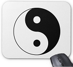 Mouse Pad - Yin Yang Black & White