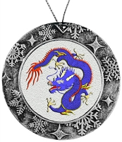 Antique Holiday Round Ornament - Blue Chinese Dragon