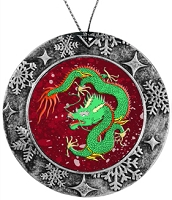 Antique Holiday Round Ornament - Green Chinese Dragon