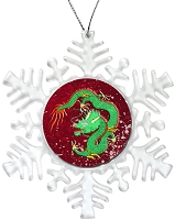 Holiday Snowflake Ornament - Green Chinese Dragon