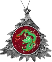 Antique Holiday Tree Ornament - Green Chinese Dragon