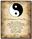 Love Poem Plaque - Yin Yang (B/W) by Qiao Xiao Brown Background
