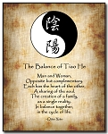 Love Poem Plaque - Yin Yang (B/W) Calligraphy by Qiao Xiao Brown Background