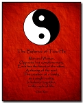 Love Poem Plaque - Yin Yang (B/W) by Qiao Xiao Red Background