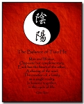 Love Poem Plaque - Yin Yang (B/W) Calligraphy by Qiao Xiao Red Background