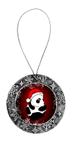 Antique Holiday Round Ornament - Santa Panda