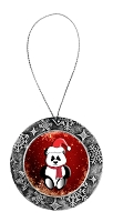 Antique Holiday Round Ornament - Sitting Santa Panda