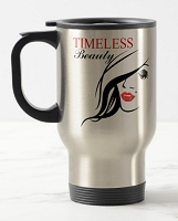 14 oz. Silver Stainless Travel Mug - Timeless Beauty